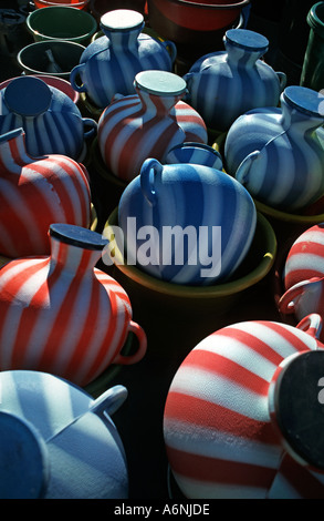 Selection of modern water jugs for sale at market San Martin Jilotepeque Sacatepequez Guatemala - Stock Photo