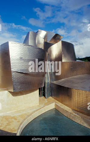 ... Guggenheim Museum designed by American architect Frank O Gehry opened  1997 building clad in titanium sheets