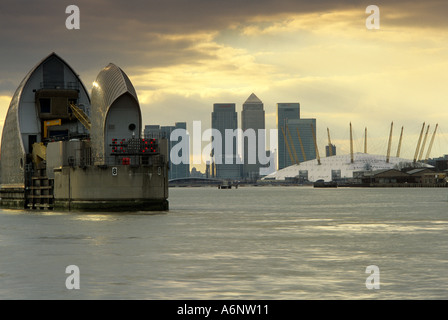 Thames Barrier London and Docklands England United Kingdom - Stock Photo