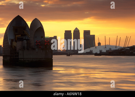 Thames Barrier and Docklands London England United Kingdom - Stock Photo