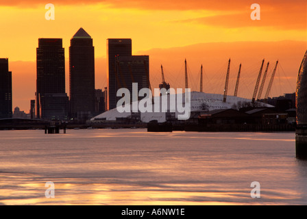 Docklands and Millennium Dome London England United Kingdom - Stock Photo
