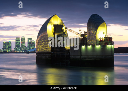 Thames Barrier London with Docklands England United Kingdom - Stock Photo