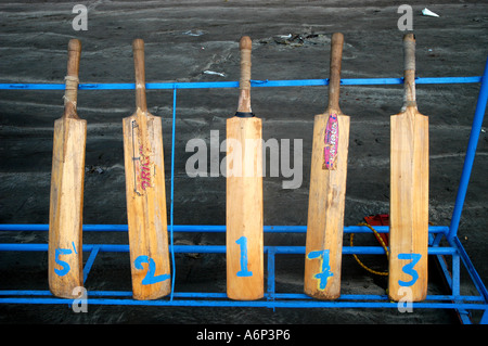 Five cricket sports bats put up on display for renting, India - Stock Photo