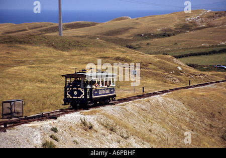 Tram on the Great Orme tramway in Llandudno - Stock Photo