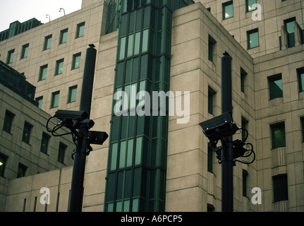 Congestion Charge Camera outside MI6 Building Vauxhall London BIG BROTHER IS WATCHING YOU - Stock Photo