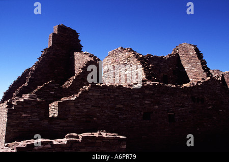 Ruins at Pueblo del Arroyo, Chaco Culture National Historical Park, Nageezi, New Mexico, USA - Stock Photo