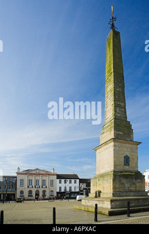 Ripon Market Place Town Hall and obelisk Ripon North Yorkshire - Stock Photo