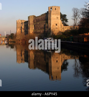 Reflections in the water on the River Trent alongside Newark castle Newark - Stock Photo