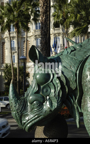 Cannes, sculpture of rhino in front of Hotel Carlton at Croisette - Stock Photo
