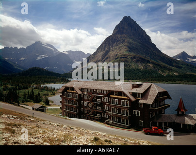 Many Glacier Hotel at Swiftcurrent Lake in Glacier National Park in Montana