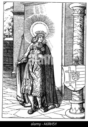 Stephen I. of Hungary, circa 969 - 15.8.1038, king of Hungary, 1000 - 1038, full length, woodcut by Leonhard Beck, - Stock Photo