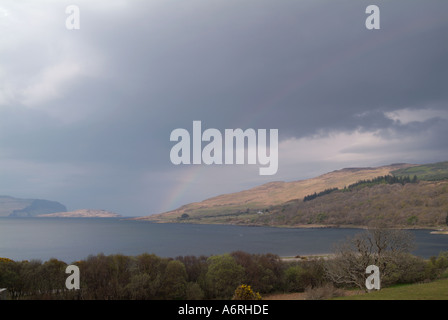 Rainbow over Loch na Keal Isle of Mull Inner Hebrides Travel Scotland Island Isle Argyll and Bute - Stock Photo