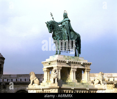 Stephen I. of Hungary, circa 969 - 15.8.1038, king of Hungary from 1000 to 1038, memorial, Equestrain sculpture, - Stock Photo
