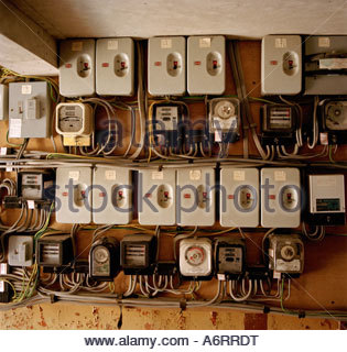 domestic electricity fuse box stock photo royalty image individual electricity switches meters and fuse boxes for several properties stock photo