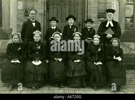 religion, christianity, ceremonies, confirmation, group picture, confirmands, circa 1910, Additional-Rights-Clearances - Stock Photo