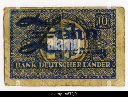money/finance, bank notes, Germany, 10 Pfennig, Bank Deutscher Länder, 1948, - Stock Photo