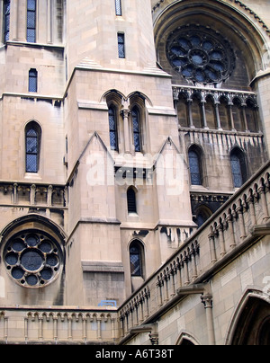 Detail of the neo-gothic architecture of the Riverside Church on the upper west side of Manhattan. - Stock Photo