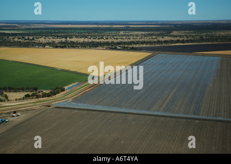 Aerial view of irrigation fields Emerald Central Queensland Australia - Stock Photo