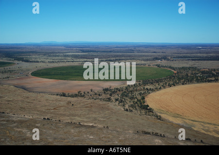 Queensland Crop Circles irrigated wheat field Central Queensland Australia - Stock Photo