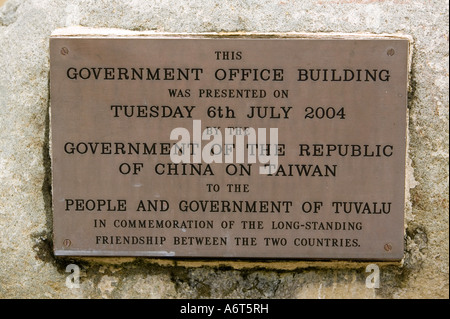 A plaque on the new Tuvaluan parlaiment building built with funds from Taiwan, Funafuti - Stock Photo