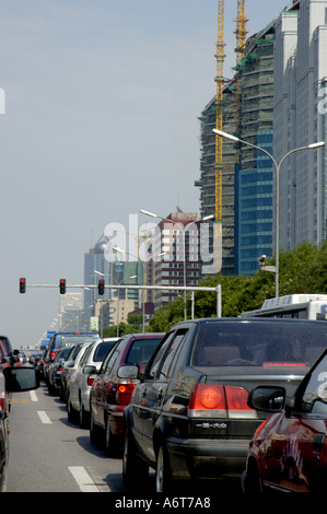 Traffic jam on a downtown highway in Beijing, China. - Stock Photo