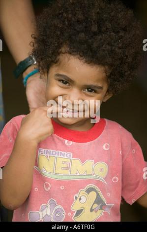 a Fijian child in Bukaya village, Fijian Highlands,