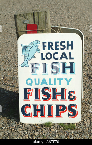 Fish and Chip sign Southwold Suffolk - Stock Photo