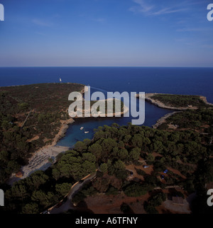 Aerial view - looking East over Cala Sa Nau ( Cala Sa Nou ), near Cala D'Or, Santanyi, East Coast Mallorca, Balearic - Stock Photo