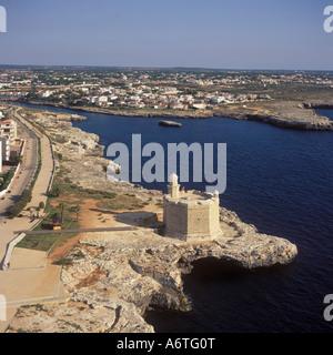 Aerial view - looking South East over the 17th Century Castle of San Nicolas,  Ciutadella / Ciudadella,  Menorca - Stock Photo