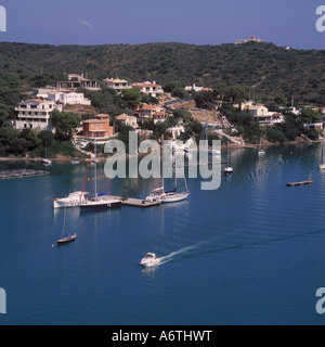 Aerial image - looking North over moorings and villas in the approaches to the Port and City of Mahon / Mao ( Puerto - Stock Photo