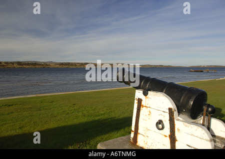 View from Victory Green over Stanley Harbour, Falkland Islands. Cannon from the original capital of Port Louis - Stock Photo