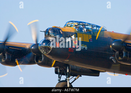 Closeup of cockpit of AVRO Lancaster bomber in flight shortly after takeoff at Royal International Air Tattoo 2005 - Stock Photo