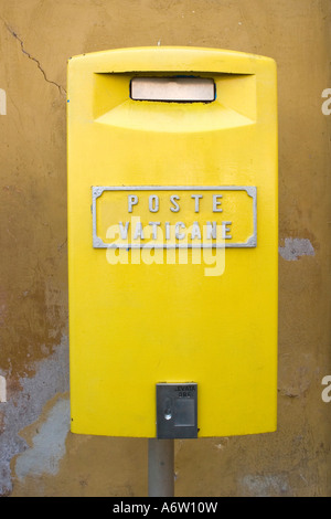 Yellow Mailbox of the Vatican Post (Poste Vaticane), Vatican, Rome, Italy Europe - Stock Photo