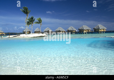 Holiday resort on Tuamotu Atoll of Manihi,an atoll in the South Pacific which is a center of pearl farming in the Pacific Ocean