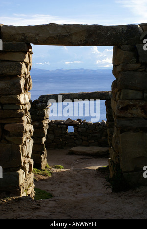 Inka temples on the Isla del Sol, Lake Titikaka, Bolivia - Stock Photo