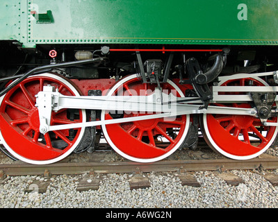 wheels of an old locomotive steam engine - Stock Photo
