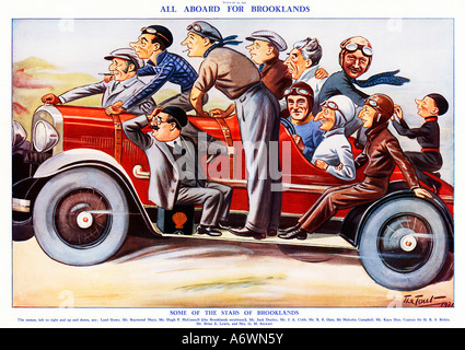 All Aboard for Brooklands 1931 caricature of the cream of the British motor racing fraternity including Sir Malcolm - Stock Photo