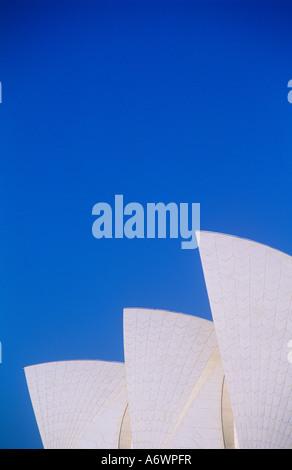 Sydney Opera house, Australia. Three sails, blue sky. - Stock Photo