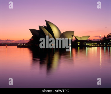 Sydney Opera House at dawn viewed from Cambells Cove The Rocks Sydney New South Wales Australia - Stock Photo