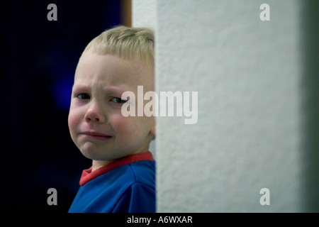 A little boy about to throw a temper tantrum - Stock Photo