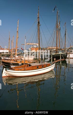 Old Sailing Ships in harbour Svendborg fyn Funen Denmark - Stock Photo