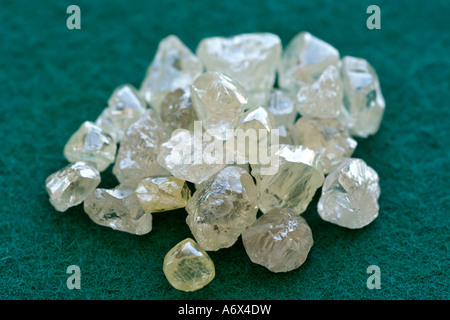 Uncut diamonds in the sorting room at De Beers Diamond Trading Company in Harry Oppenheimer House in Kimberley, - Stock Photo