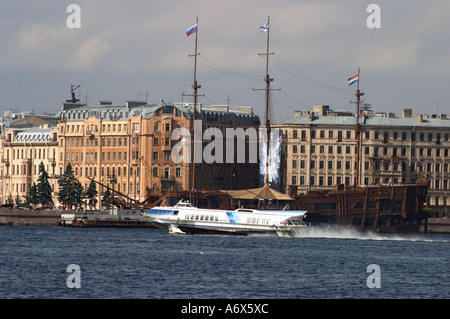 St Petersburg Neva river with spead boat - Stock Photo