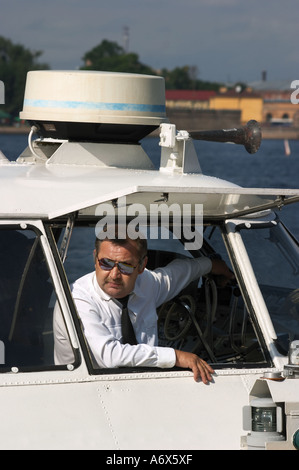 Captain of a spead boat St Petersburg Russia - Stock Photo