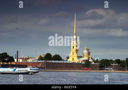 St Petersburg Neva river with spead boat Petropavlovskaya krepost - Stock Photo