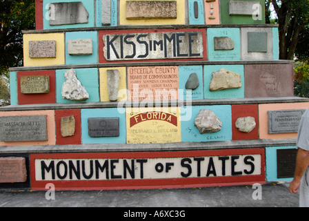 Monument of States 50th anniversary with 50 time capsule to be opened in 2043 Historic downtown Kissimmee Florida - Stock Photo