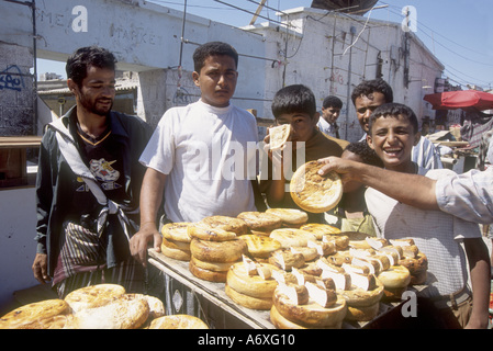 Yemen, Aden, Merchants display their local cheese at the market of Aden - Stock Photo