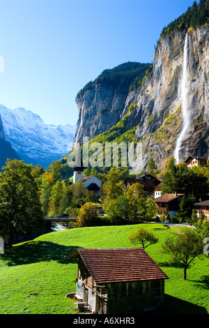 Switzerland Berner Obeland Staubbach falls Lauterbrunnen - Stock Photo