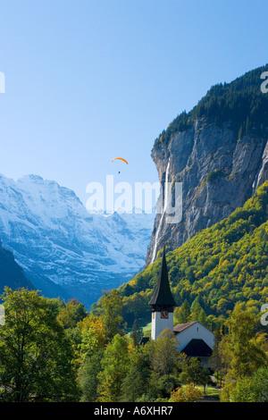 Switzerland Berner Oberland View over Lauterbrunnen - Stock Photo