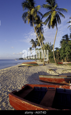 CARIBBEAN, Grenada, Colorful boats on beach at dusk - Stock Photo
